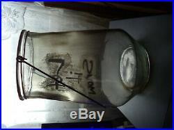Large Unique Rare Style Vintage Pickle Cookie Clear Glass Handle 11 int Jar