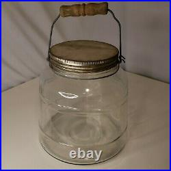 Large Vintage Banded Bucket Glass Counter Jar with Wooden Handle Swing Wire Bail