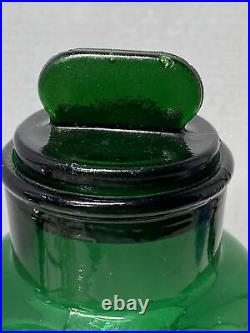 Large Vintage Green Glass Apothecary Jar Italy Glass Lid with Tab Handle 10.5