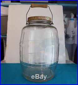 Large Vintage Owens Illinois Glass Pickle Jar with Wooden Handle