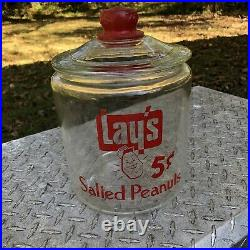 Lay's Salted Peanuts Glass Counter Jar With Toms Red Embossed Handle Lid READ
