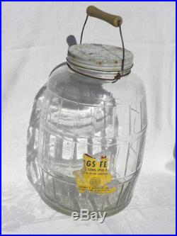 Lg. Owens-Illinois Duraglas Barrel-Shaped Goetze Pigs Feet Glass Jar Wood Handle