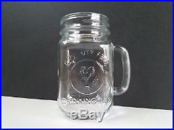 Lot 5 Count County Fair Glass Drinking Jars Cups Handle Rooster Chicken