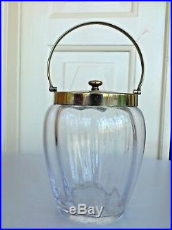 Lovely glass ice bucket/jar made in England with a silver plated lid and handle