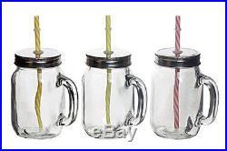 M2cbridge Set of Four(4) 15oz Clear Glass Mason Jar/drinking Jar with Handle-FDA