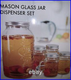 MASON JAR Glass 1 Gallon Drink Beverage Dispenser & 4 Mugs with Lids