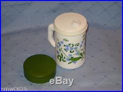 MILK GLASS OIL DISPENSER OLIO VINTAGE WHITE JAR BOTTLE HANDLE GREEN BLUE FLOWERS