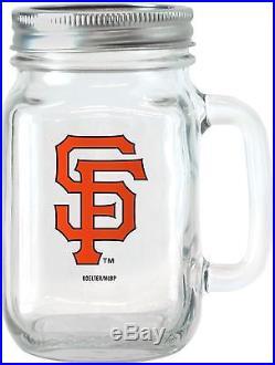 MLB 16 Oz San Francisco Giants Glass Jar With Lid And Handle, 2pk