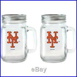 MLB 16 oz New York Mets Glass Jar with Lid and Handle, 2pk