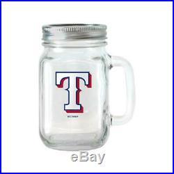 MLB 16 oz Texas Rangers Glass Jar with Lid and Handle, 2pk