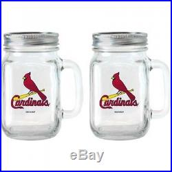 MLB 470ml Saint Louis Cardinals Glass Jar with Lid and Handle, 2pk. Delivery is