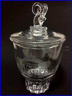 MOSER LOBMEYR GLASS MOUNT KENYA SAFARI CLUB ETCHED JAR. GAZELLE HANDLE. VERY RARE