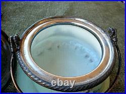 MOUNT WASHINGTON HANDPAINTED CRACKER JAR withCABIN SCENES & SILVER HANDLE AND LID