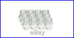 Mason Drinking Jars, Mugs, Set of 12, 16 oz, Vintage, Wedding, Handle, Glass Cup