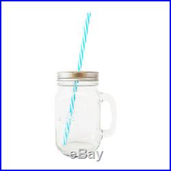Mason Jar (Clear/Colorless) Handle & Lid + Straw Vintage Drinking Mug Glass Gift