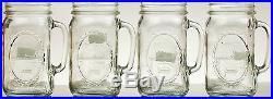 Mason Jar Drinking Mugs 32oz (Set Of 12) Clear Glass Handle Country Hearth VTG