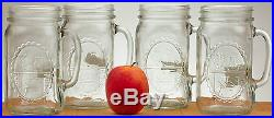 Mason Jar Drinking Mugs 32oz (Set Of 4) Clear Glass Handle Redneck Guzzler VTG