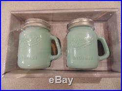 Mason Jar Green Opaque Milk Glass Salt & Pepper Shakers With Handles BPA free NIB