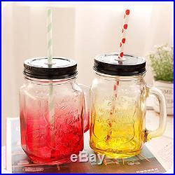 Mason Jar Handle Lid Straw Vintage Drinking Mug Glass Party Wedding Gift Decor
