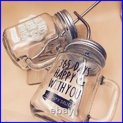 Mason Jar Mugs Classic Insulated Tumbler Water Bottle Metal Lid with Straw