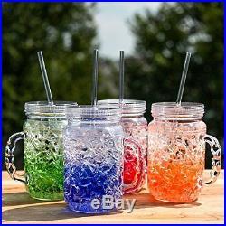 Mason Jar Mugs With Handles Lid Straws Set of 4 Color Acrylic Cold Drinking