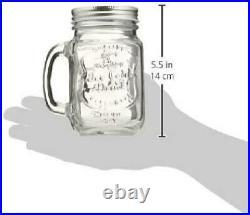 Mason Jar Mugs with Handles Old Fashioned Drinking Glass Set 6 16 oz Each