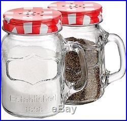 Mason Jar Salt and Pepper Shaker Set with Handles Shakers Jars Clear Glass Red