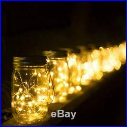 Mason Jar Solar Lights, 30 LED Hanging Outdoor Handle, Lantern For Lawn, 6 Pack
