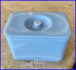 McKee Delphite Poudre Blue 4 X 6 Knob Handled Refrigerator Dish Box Jar