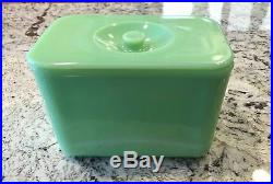 McKee Jadeite Jadite Green 4 X 6 Knob Handled Refrigerator Dish Box Jar