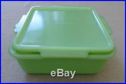 McKee Jadite Tab Handled Square Refrigerator Dish Box Jar Jade-ite Skokie Green