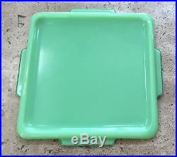 McKee Jadite Tab Handled Square Refrigerator Dish Box Jar Lid Only Jade-ite