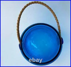 Mid-Century Takahashi Cobalt Blue Glass Jar Canister Cork Lid Bale Rattan Handle