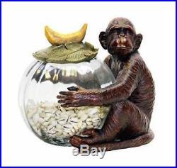Monkey Jar Keeper with Banana Leaf Handle ID 99056