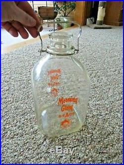 Morning Glory Grade A 1 Gallon Milk Jar Jug Glass With Metal & Handle Duraglas