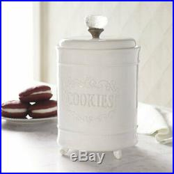 Mud Pie E0 Kitchen Circa Footed White Cookie Jar With Glass Knob Handle 4931001