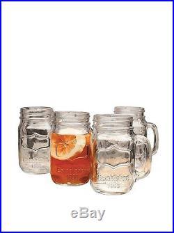 Mug Set Handle Style Kitchen Glasses Drinking Case Of 4 Mason Jar Glass 17.5 Oz