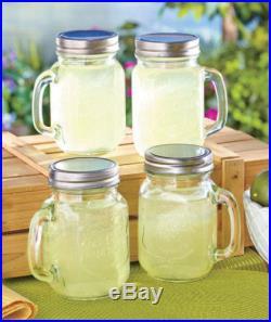 Mug Set Handle Style Kitchen Glasses Drinking Case Of 4 Mason Jar Glass with Lid