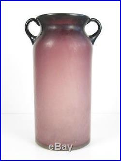 Murano Vintage Jar Design 50's/60 A 2 Handles Glass Violet Satin 33cm