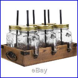MyGift 7 Piece Set Mason Jar Mug Glasses in Dark Brown Wood Caddy with Handles