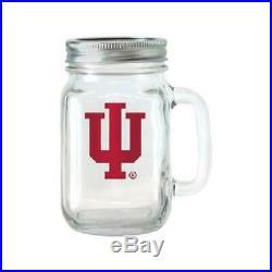 NCAA 16 oz Illinois Fighting Illini Glass Jar with Lid and Handle, 2pk