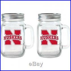 NCAA 470ml Nebraska Cornhuskers Glass Jar with Lid and Handle, 2pk. Huge Saving