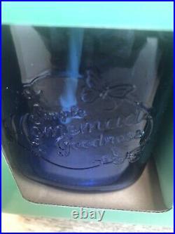 NEW Pioneer Woman Set of 8 Sapphire Blue 16oz Mason Jar Drinking Glasses Straws