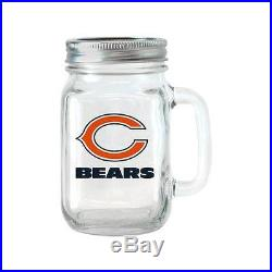 NFL 16 oz Minnesota Vikings Glass Jar with Lid and Handle, 2pk