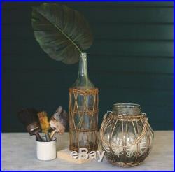 Natural Glass Vase Wicker Wrap Handle Floral Jar Votive Candle Holder