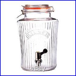 New 5 Litre Kilner Vintage Handled Clip Top Water Ice Teas Drinks Dispenser Jars