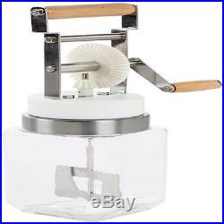 New Butter Churn Glass Hand Cranked Homemade Jar Wood Handle Fresh Churner Crank