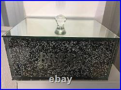 New Crushed Crystal Diamond Black & Silver Bread Bin Glass Box Jar UK