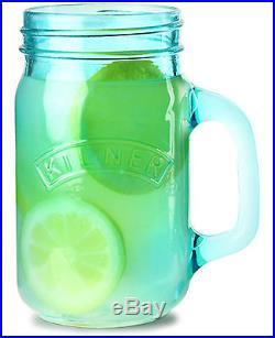 New Kilner Vintage Blue Glass Handled Preserving Storage Drink Beverage Jar 0.4L