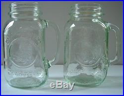 New MASON JAR GLASS MUGS HANDLES 28 OZ LOT 2 Golden Harvest Red Neck